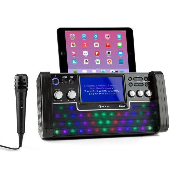 AUNA DiscoFever Chaîne karaoké Bluetooth LED Ecran TFT 7