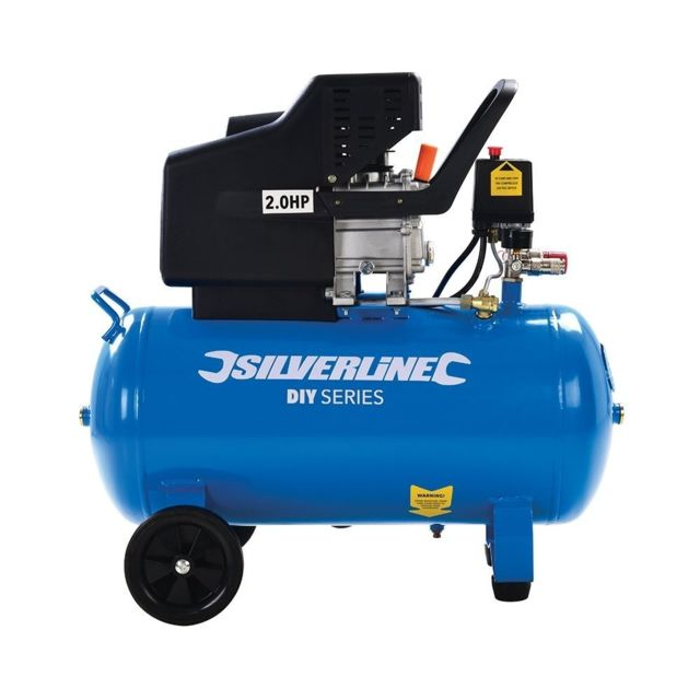 Silverline - Compresseur D'AIR 2 Cv 50 L - Cuve De 50 Litres