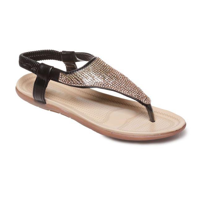 Lamodeuse - Sandales plates noires à strass - pas cher Achat   Vente ... 39ee383d72e9