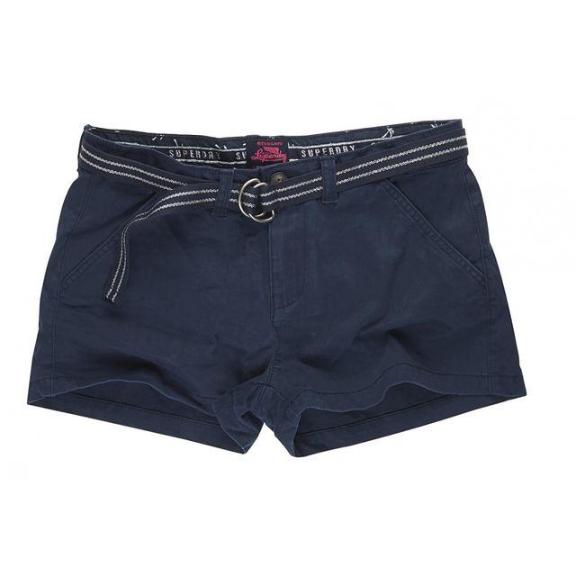 Superdry - Short International Hot Short Navy Bleu nuit - pas cher Achat    Vente Short femme - RueDuCommerce 1d45f61a03d