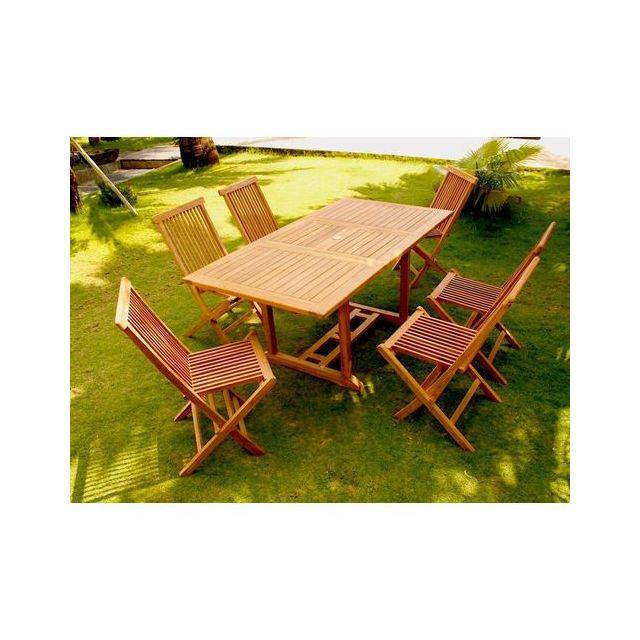 Design et Prix - Magnifique Salon de jardin teck 6 rectangle ...