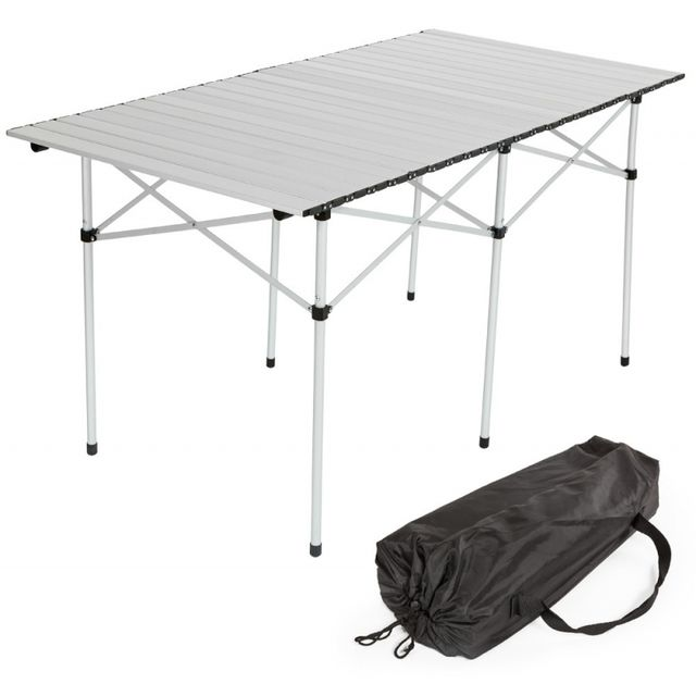 Autre Table de camping jardin pique-nique aluminium pliante 140x70 cm + sac 2008034