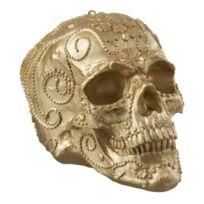 Jolipa - Statuette en résine en forme de Crâne or