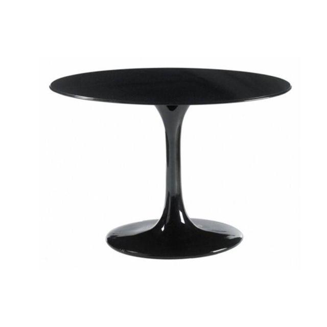Inside 75 Table ronde de repas design Tulipe laquée noir 120 cm