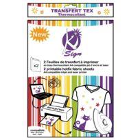 Ki-sign - Papier transfert tissu thermocollant imprimable 2 pièces