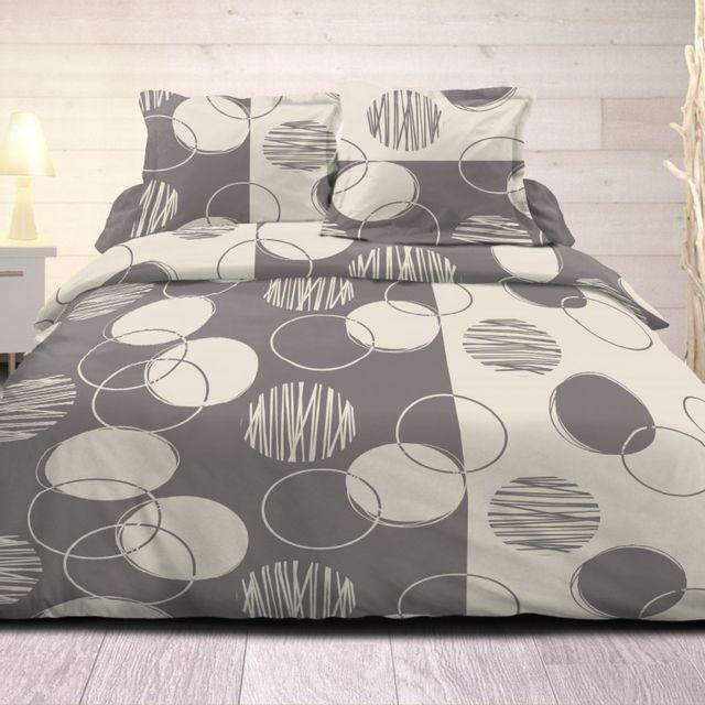 100pourcentcoton housse de couette 220x240 cm microfibre exo gris 1 drap plat 240x300 cm 1. Black Bedroom Furniture Sets. Home Design Ideas