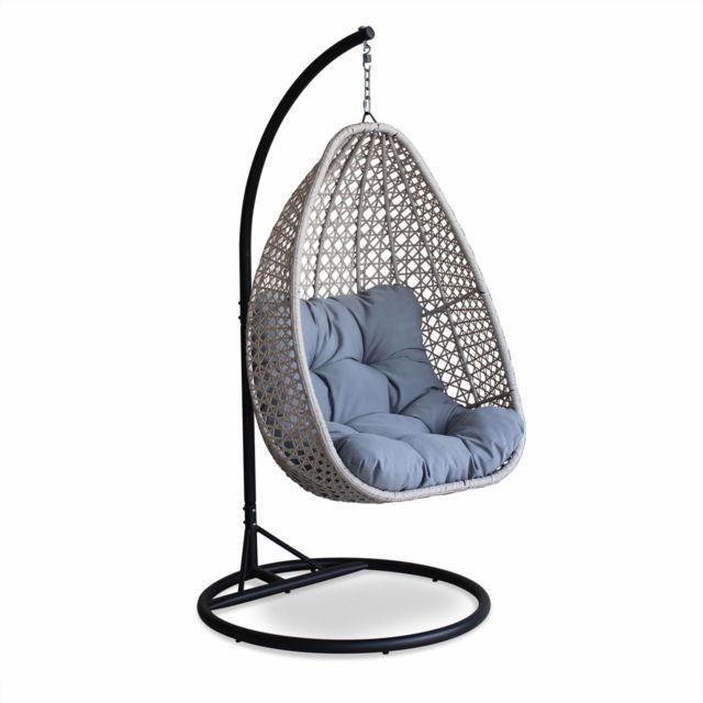 alices garden fauteuil suspendu uovo loveuse suspendue en rsine tresse beige chin et - Fauteuil Jardin Suspendu