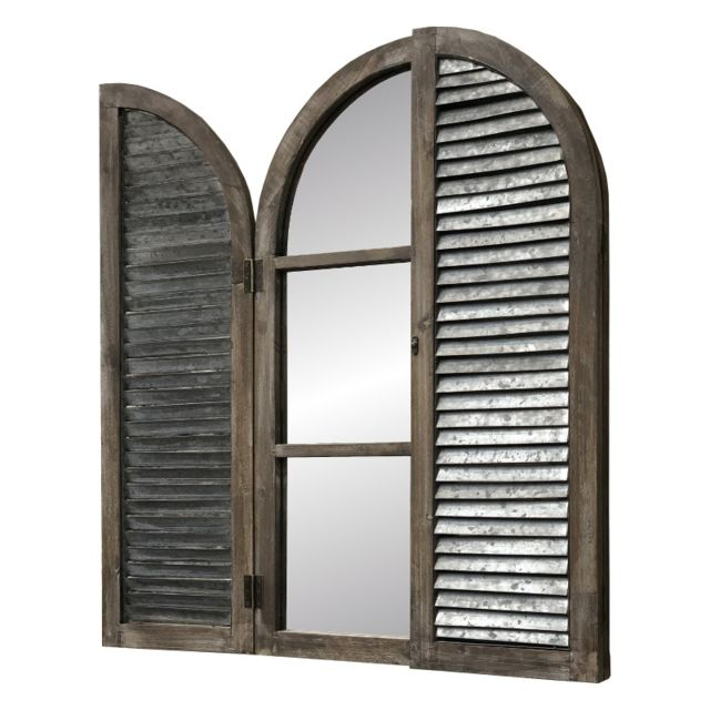 L'ORIGINALE Deco Miroir Volet Fenêtre Bois Métal Zinc 90 cm