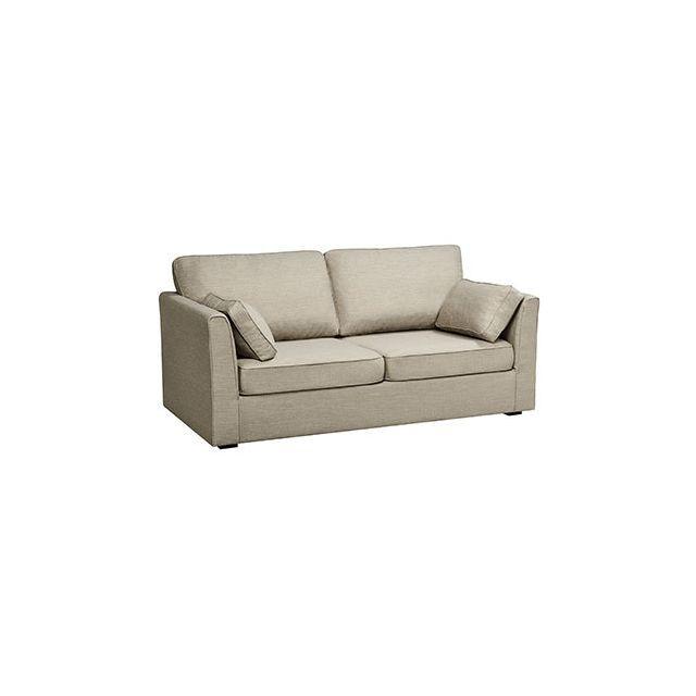 Canapé 3 places fixe en polyester gris - Charles