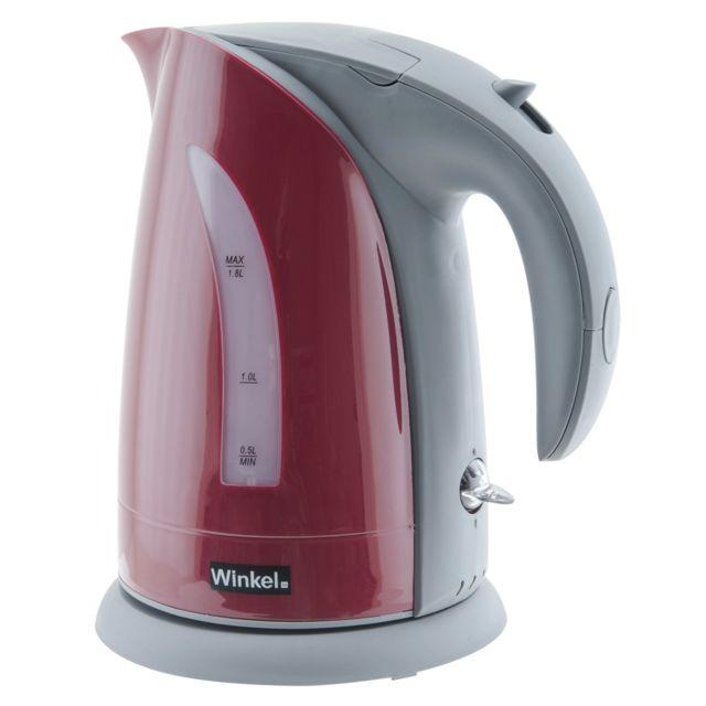 WINKEL Bouilloire rouge SW8_ROUGE Bouilloire électrique sans fil rapide et pratique, capacité d'1,8 litre, puissance de 2200W avec poignée Cool-Touch.La Winkel SW8R est une bouilloire électrique sans fil qui porte l'eau froide