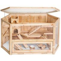 Helloshop26 - Cage Xxl en bois 3 étages pour petits rongeurs animaux hamsters lapin clapier 3708052