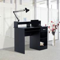 HOMCOM - Bureau informatique multi-rangement tiroir et tablette coulissants, double niche et étagère design 106L x 50l x 94H cm noir neuf 25BK