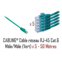 Cabling - Lot de 5 câbles réseau catégorie 6 Utp avec 2 fiches Rj45 50m Vert