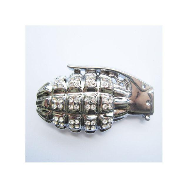 Universel - Boucle de ceinture grenade chromé et strass rock gothique 262c471516e