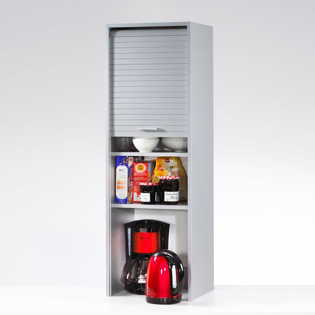 Marque Generique Elément de rangement pour cuisine avec rideau coulissant H123.6cm Cook - Aluminium - 40cm