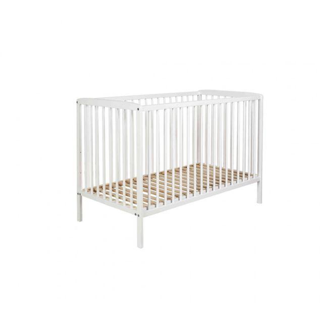 TERRE DE NUIT Lit bébé à barreaux 60x120 en bois blanc LT0001