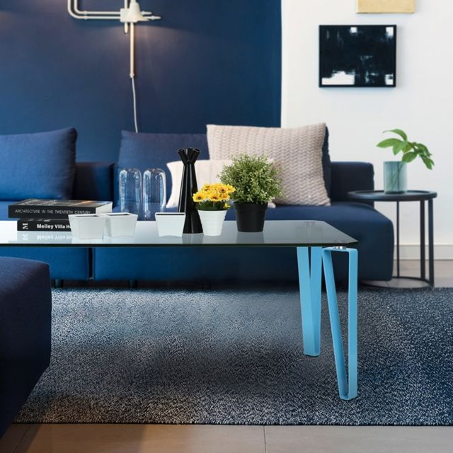 Ego Design Table basse en verre Percy bleu