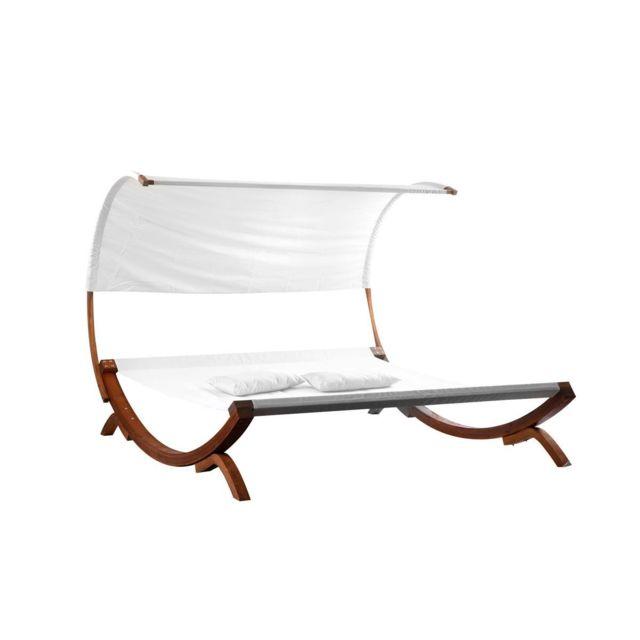 miliboo transat double bain de soleil de jardin blanc cass brehat - Jardin Transat