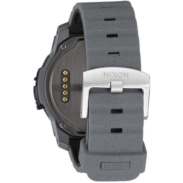 NIXON Mission Concrete - Gris - GPS - Podomètre - Météo - Etanche (100m) - Résistant aux chocs (verre robuste) - Personnalisable&nbsp