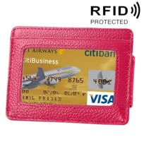 Wewoo - Porte Carte Protection sans contact Anti Rfid magenta pour cartes et cadre photo, taille: 110 77 4 mm Portefeuille en cuir de vachette de couleur solide porte-cartes de de blocage Rfid Protect Case avec 3 fentes