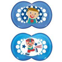 Mam - Lot De 2 TÉTINES - GarÇON - + 16 Mois - Motif Bleu - Sans Bisphenol A