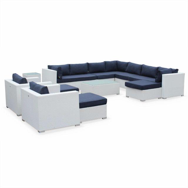 alice 39 s garden salon de jardin en r sine tress e xxl tripoli blanc coussins bleu marine. Black Bedroom Furniture Sets. Home Design Ideas