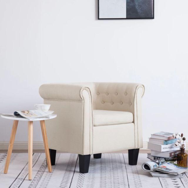 Vidaxl Fauteuil avec Coussin Crème Polyester Chambre à Coucher Intérieure
