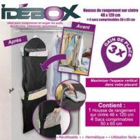 Idebox - Housse de rangement sur cintre 48x20 cm + 4 sacs aspi