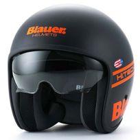Blauer - casque jet moto scooter Pilot fibre noir mat orange fluo M