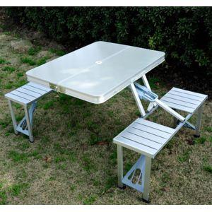 homcom - table de camping pique-nique pliante aluminium 4 places