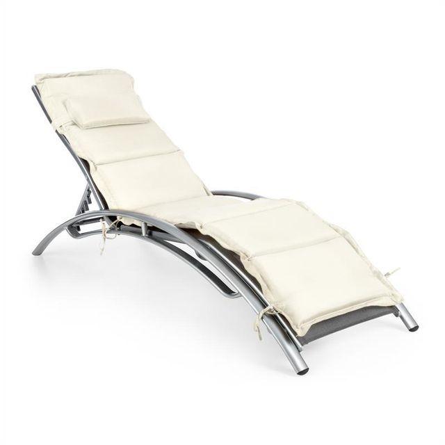 blumfeldt intermezzo chaise longue jardin aluminium rembourrage pu griscrme - Chaise Longue Jardin Pas Cher