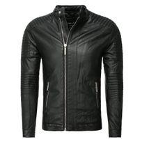 Marque Generique - Veste imitation cuir motard Blouson Pr22 noir