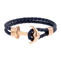 nouvelle arrivee 42473 4f23a Bracelet Les Haubans en Acier Rose et Cuir Bleu marine en forme d'Ancre
