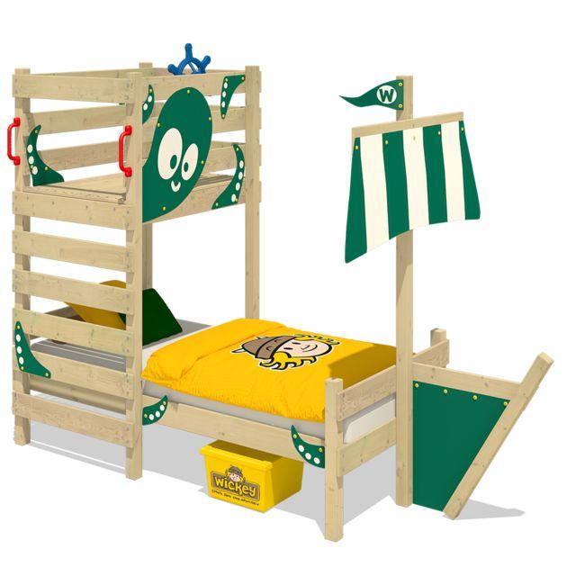 WICKEY Lit en bois pour enfant CrAzY Bounty Lit simple - vert