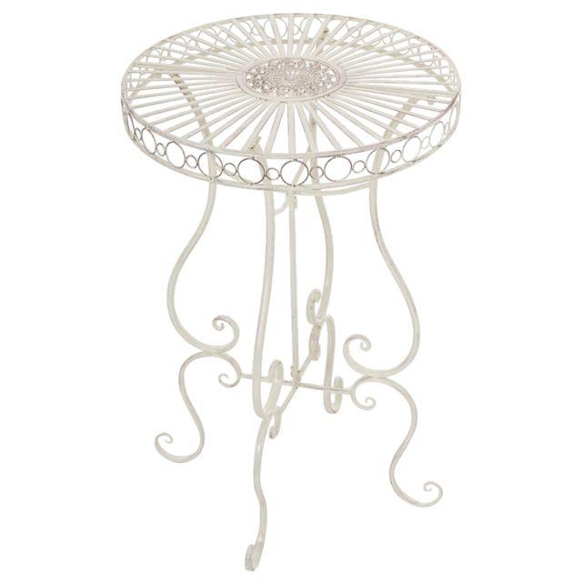 Table de jardin ronde en fer coloris crème antique - 100 x 64 x 64 cm