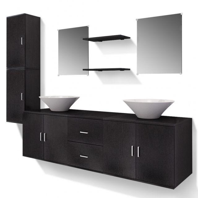 casasmart ensemble 9 pi ces mobilier salle de bain avec lavabo noir pas cher achat vente. Black Bedroom Furniture Sets. Home Design Ideas