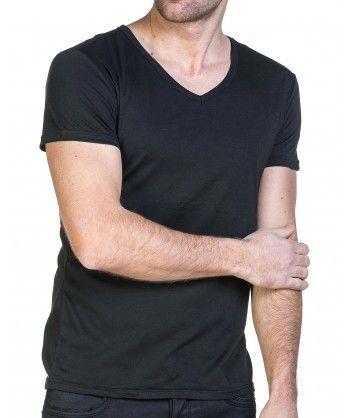 3391a476184 BLZ Jeans - Tshirt noir homme basic col V - pas cher Achat   Vente ...