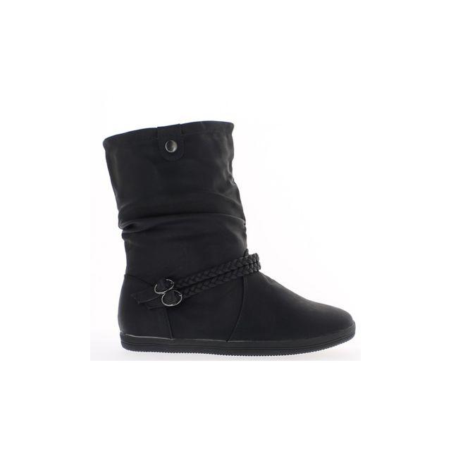 3a215385d250 Chaussmoi - Bottines femme noires plates doublées aspect cuir - pas ...