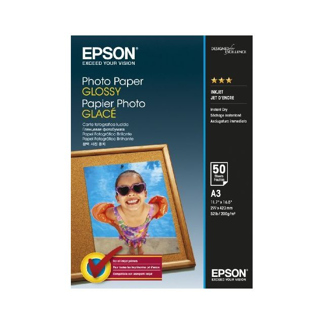 epson papier photo glac a3 50 feuilles pas cher achat. Black Bedroom Furniture Sets. Home Design Ideas