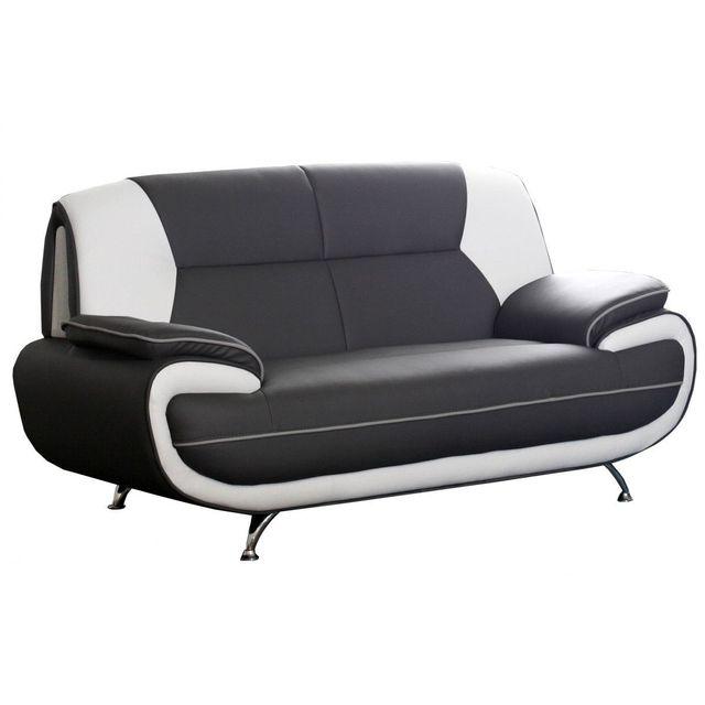 Comforium Canapé 2 places design en simili cuir noir et blanc design Nino