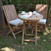 Salon de jardin en teck Ecograde© Darjeeling, table pliante 60 cm + 2 chaises Karimun