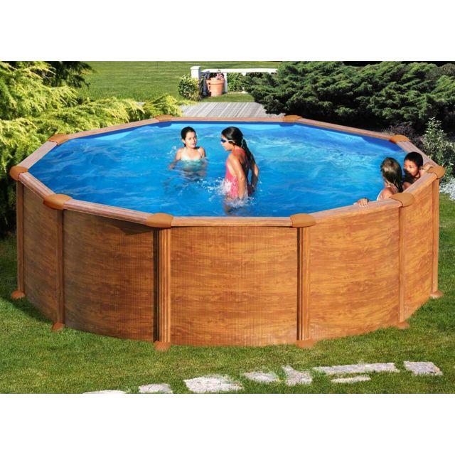 gre piscine acier aspect bois mauritius ronde 4 80 x 1. Black Bedroom Furniture Sets. Home Design Ideas