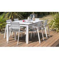 Salon jardin rallonge 6 fauteuils blanc Mykonos