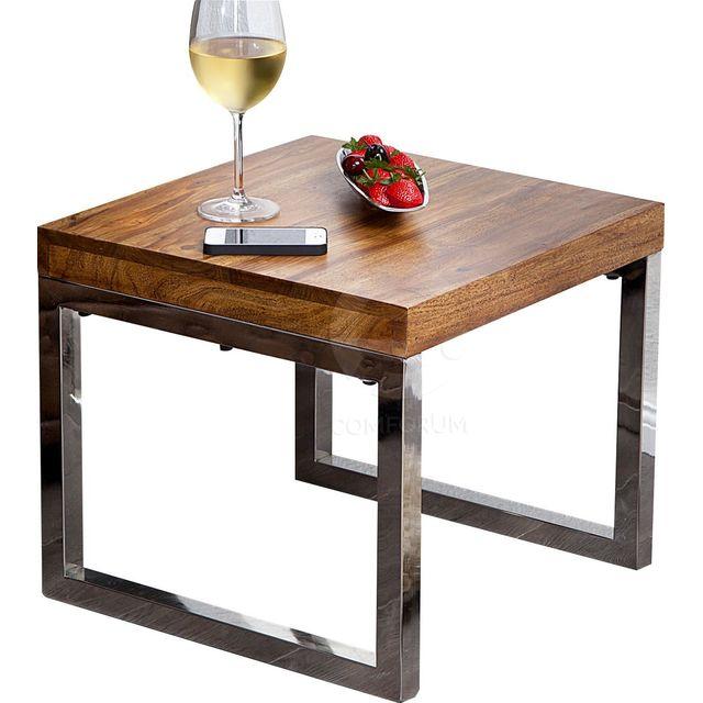 Comforium Table d'appoint carrée en bois massif de palissandre et métal