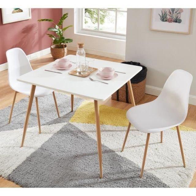TABLE A MANGER AVEC CHAISES BODO Ensemble table a manger carrée L 90 cm + 2 chaises - Style scandinave - Décor bois et b