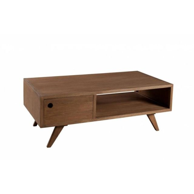 Inside 75 Table Basse 1 Tiroir Fancy en Bois Teinte Naturelle Style Scandinave