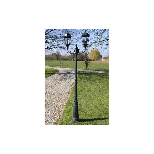 destockoutils lampadaire ext rieur de jardin en fonte d 39 aluminium 2 lampes hauteur 230 cm. Black Bedroom Furniture Sets. Home Design Ideas