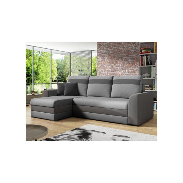 e49ca573dd8 MARQUE GENERIQUE - Canapé d angle réversible et convertible GIANY en tissu  et simili-