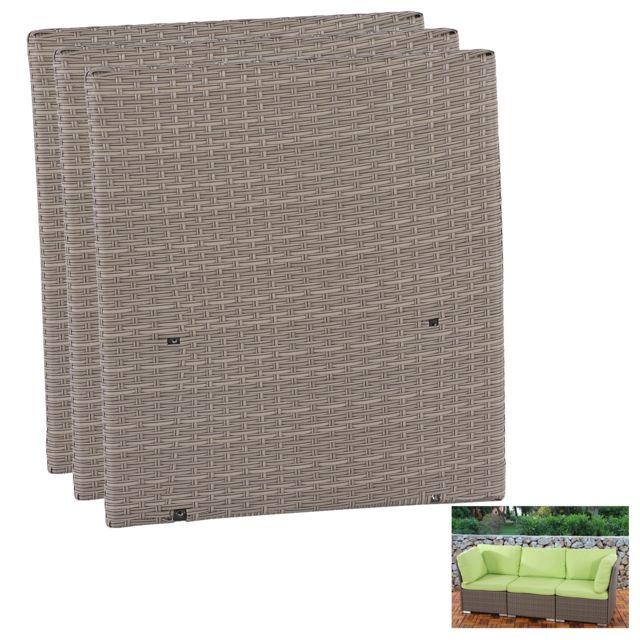 Mendler 3x partie latérale pr salon modulaire de jardin Siena polyrotin pr milieu gastronomique ~ gris