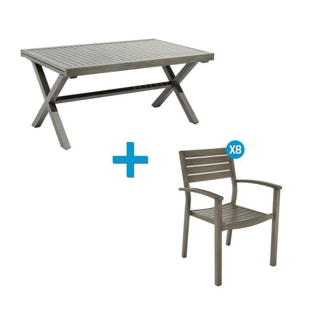 CARREFOUR - Ensemble 1 table et 8 fauteuils de jardin ...